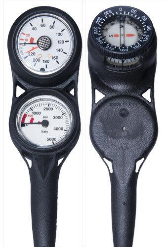 H2Odyssey Scuba Diving 3 Gauge Console Pressure Gauge, Depth Gauge /& Compass