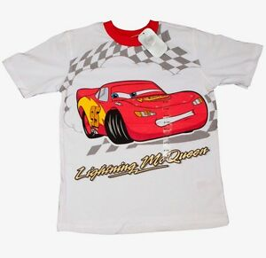 Disney Official Cars Lightning McQueen Kids Boys Pyjamas 100% Cotton T-Shirt Top