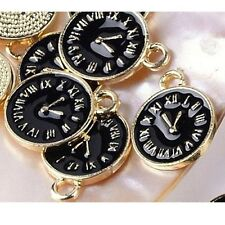 5 x Watch Gold Plated Black Enamel Pendant Clock Charms Alice