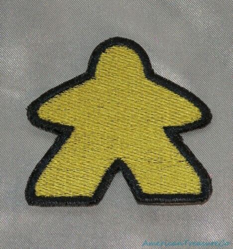 Embroidered Classic Meeple Board Gamer Lemon Yellow 3.5 Patch Iron On Sew USA