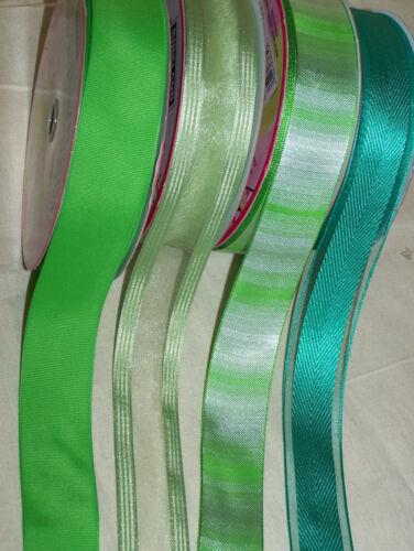 """1m 2m Verde Con Cable Cinta del borde 3,8 Cm 1.5 /""""Cinta acanalado Perfecto strpe Brillo Profundo"""