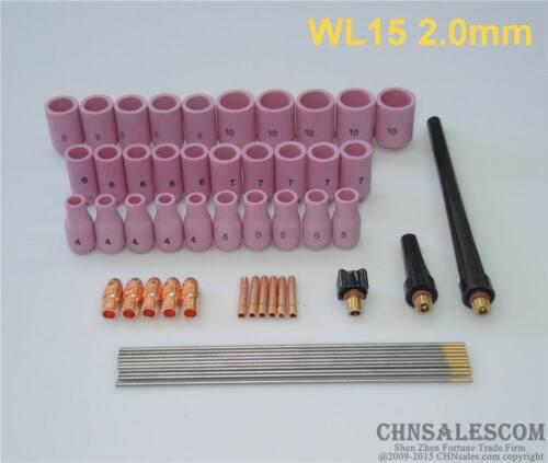 "53 pcs TIG Welding Kit for Tig Welding Torch WP-9 WP-20 WP-25 WL15 4//51/"""