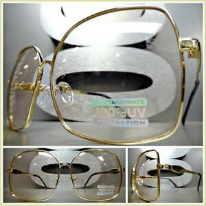 e32f154af50e Image is loading OVERSIZED-VINTAGE-RETRO-Style-SUN-GLASSES-Square-Gold-