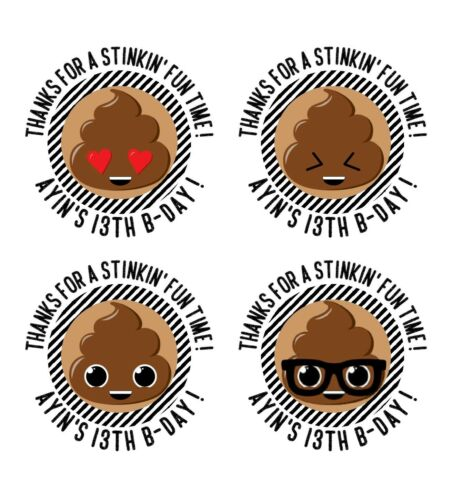 POOP EMOJI PERSONALIZED STICKER LABEL TAGS VARIETY SIZES PARTY TIL YOU/'RE POOPED