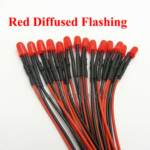 100 pcs 5mm pre wired red diffused Flashing Flash Led Light Lamp 12V DC New
