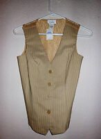 Lovely Chesley Sz M Medium Sleeveless Khaki/ivory Vest