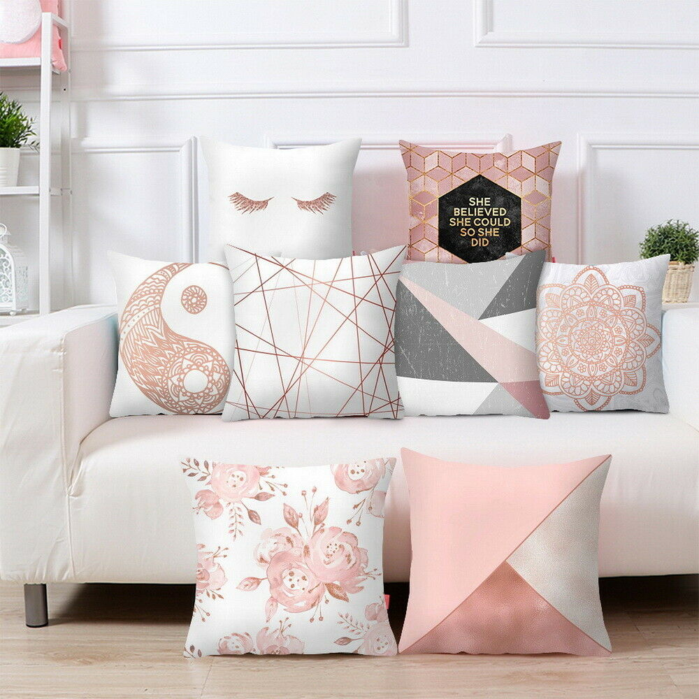 Rose Gold Cushion Covers Pink Theme Geometric Marble Pillow Case Car Decor