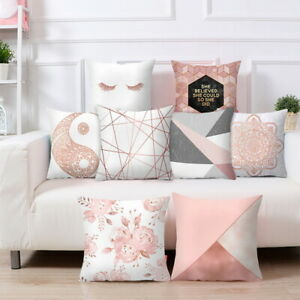 details about rose gold cushion covers pink grey geometric marble pillow case sofa home decor