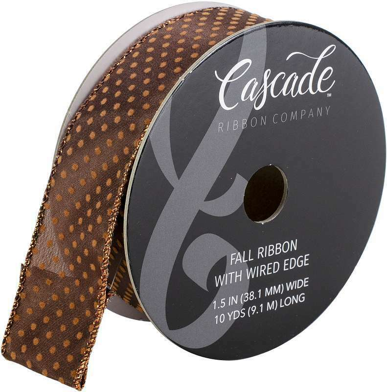 "Cascade Satin Ribbon W//Wired Edge 2.5/""X15yd-White /& Green W//Red Glitter"