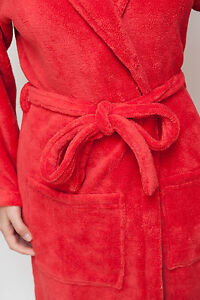 red unisex spa bath robe plush sexy warm perfect gift his and hers robes ebay. Black Bedroom Furniture Sets. Home Design Ideas