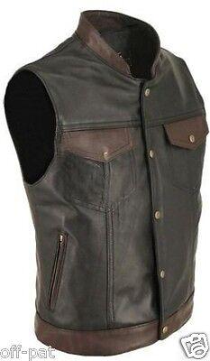 100% Cows Leather Biker Style Waistcoat Vest Cut Most Sizes