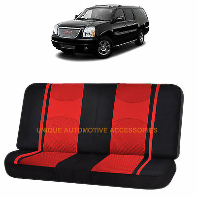RED & BLACK POLY MESH NET 2PC SPLIT BENCH SEAT COVER for for GMC YUKON SIERRA