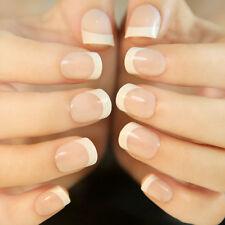 24Pcs Natural French Short False Nails Acrylic Full Artificial Nails Faux Ongles