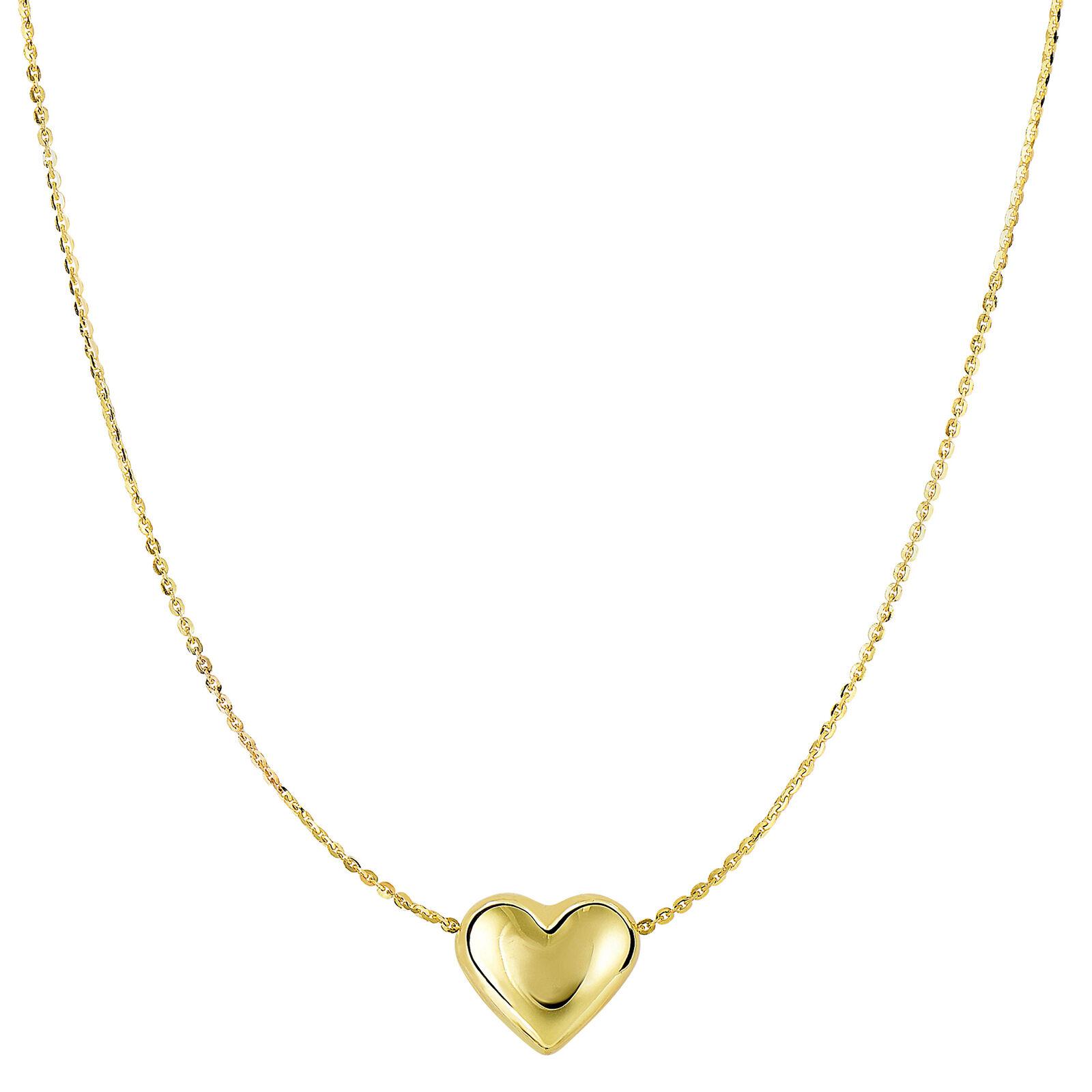 14K oro Giallo Scorrevole Gonfio Ciondolo Ciondolo Ciondolo a Cuore su 45.7cm cm Collana 7f4e79