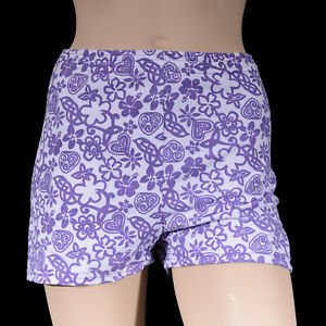 Girls-Purple-White-Flower-Bike-Shorts-Girl-039-s-Dance-Gym-Gymnastics-Roller-Sports
