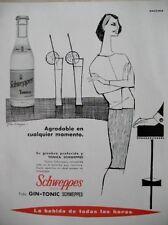 PUBLICITE DE PRESSE SCHWEPPES GIN TONIC ILLUSTRATEUR GARBAYO SPANISH AD 1962