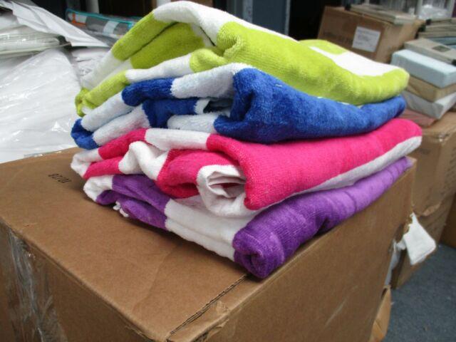 "4 Pack Large Beach Towels Cabana Hotel Stripe Pool Towel Cotton Blend 30"" x 60"""