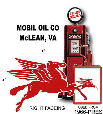 """MOBI-3 8/"""" MOBIL RIGHT FACING PEGASUS GASOLINE GAS PUMP OIL TANK DECAL"""