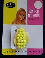 Vintage Hair Accessories - Yellow Beaded Single Snap Ponytail Holder