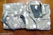 Munki Munki Large Pajama Set Gray Flannel Cotton Blend Polar Bear Fox Pants Top