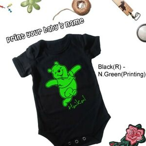 Baby-Romper-Print-Your-Baby-039-s-Name-size-6-12-Month-Black-R-Green-Printing
