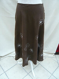 Hobbs-brown-white-embroidered-floral-Linen-long-skirt-Waist-27-5-034-Size-10-12