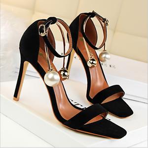 cd2d961d03ea Women  039 s Open Toe Stilettos High Heels Pearl Ankle Strap Shoes ...
