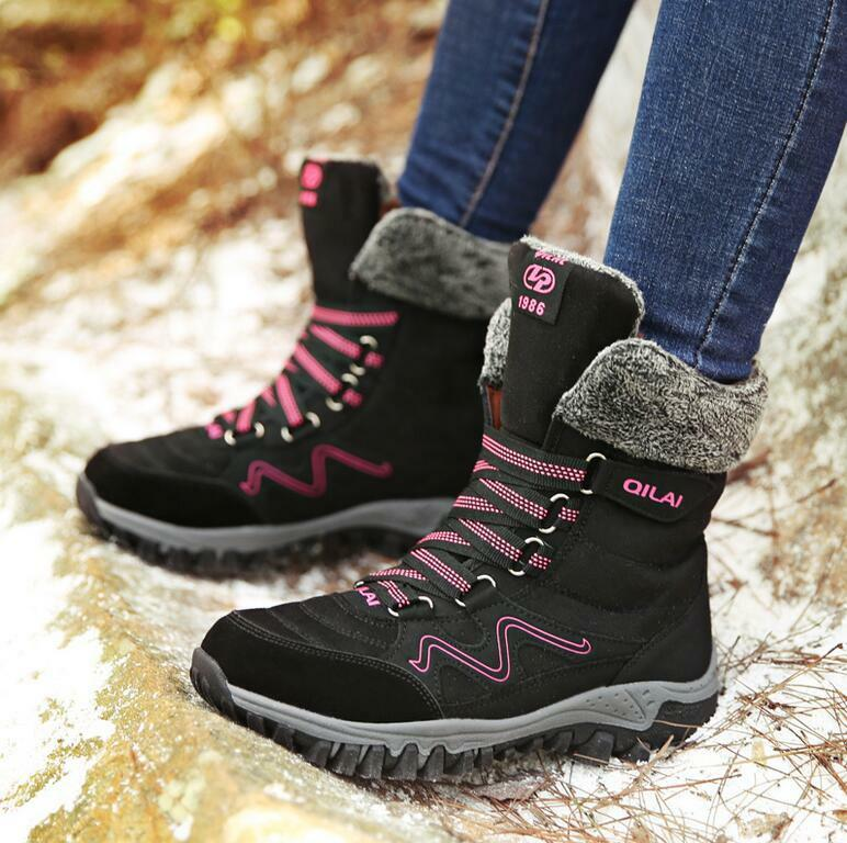 Winter Outdoor Snow bottes femmes Thicken Velvet Warm Waterproof Ski chaussures Yoooca