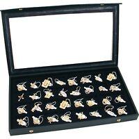 Jewelry Display Case Box Organizer Tray Locking Lid Storage 32 Compartment Black