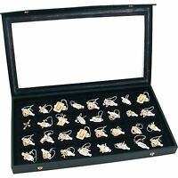 Jewelry Display Case Box Organizer Tray Locking Lid Storage 32 Compartment Black