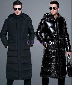 480fce06b42 HOT Mens Full Knee Long Length Down Hooded Long Puffer Jacket Coat ...