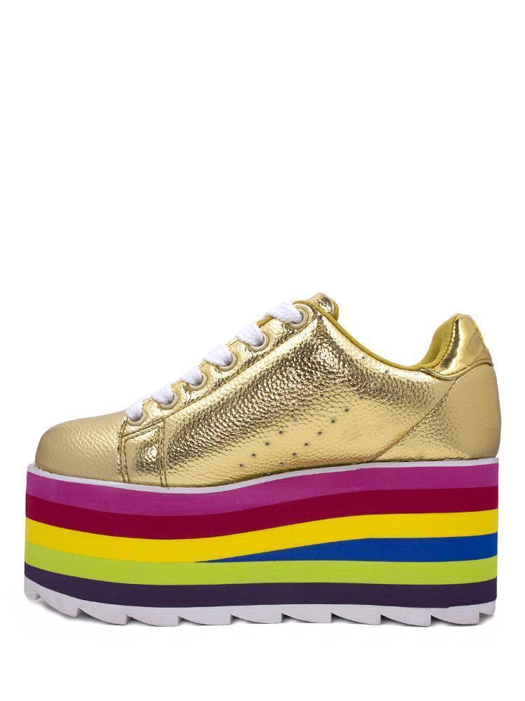 Yru Rainbow Jugend Ausfahrbarer Lala Gold Mehrfarbig Rainbow Yru Damen Absatz Sneaker Schuhe 45a646