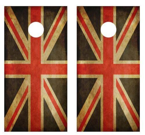 Grunge U.K Flag Cornhole Board Game Wraps FREE SQUEEGEE #1775