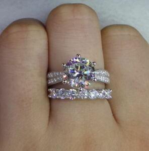 3-50-Ct-Round-Cut-Diamond-Engagement-Wedding-Bridal-Ring-Set-14k-White-Gold