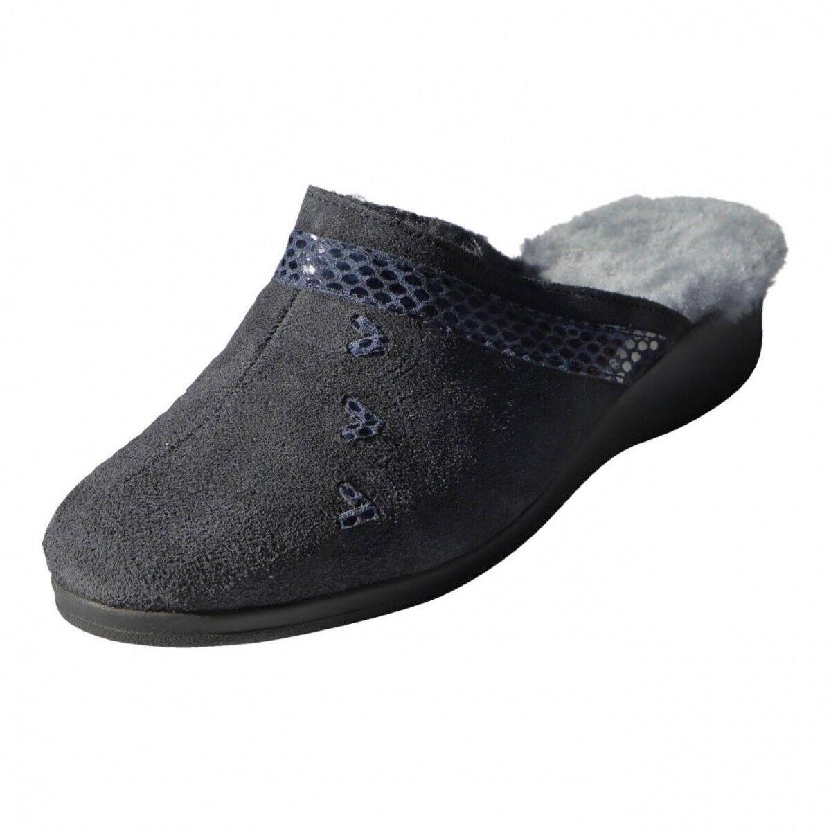 Agnello Pantofole-biekamp imitazioni blu AGNELLO da donna Pantofole MERINO AGNELLO blu 8bedb9