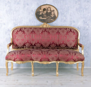 Giant Sofa Rococo Style Bench Royal Sofa Wood Baroque French Louis Xv Carved Sofas/chaises
