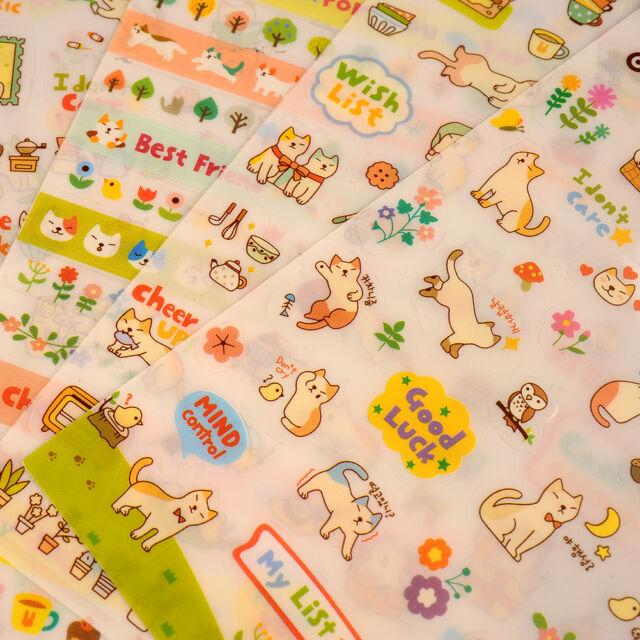 Cute Lovely 6 Sheet Cat Kitty Paper Stickers for Scrapbook Calendar Decor DIY