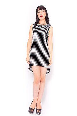 Simple Stripe Dress in Black Blogger Minimalist Style Low Armpit 6 8 10 12