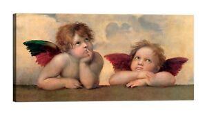 RAFFAELLO-Angeli-Madonna-Sistina-Stampa-su-tela-Canvas-effetto-dipinto