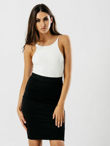 LADIES-GIRLS-NEW-BLACK-MIDI-BODYCON-SCHOOL-OFFICE-WORK-STRETCH-ELASTIC-SKIRT