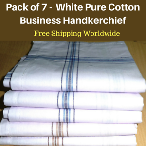 7-White-Mens-Business-Handkerchiefs100-Pure-Cotton-Hankies-Large-45x45CM-Hanky