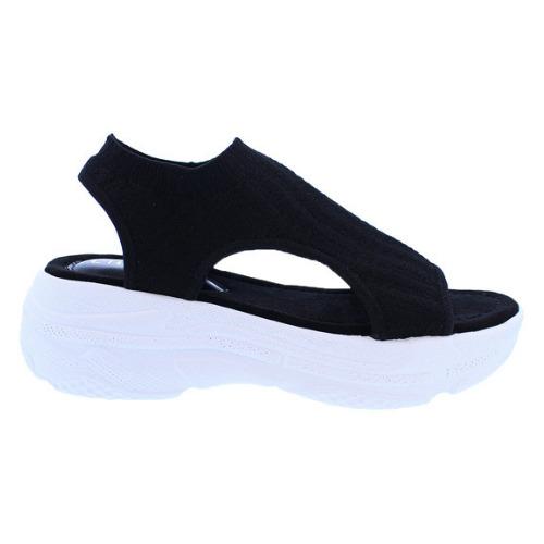 Liliana BUYA-1 Black Knit Slip On Cut Out Platform Athleisure Sneaker Sandal