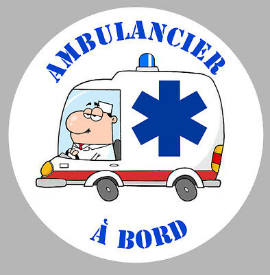 aa130 Limpid In Sight United Ambulancier A Bord Secours 10cm Autocollant Sticker