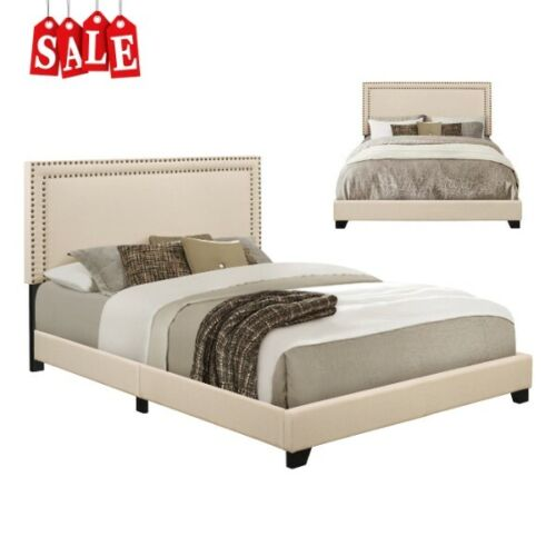 Upholstered Queen Size Platform Bed Frame with Headboard Wood Slats Modern Style