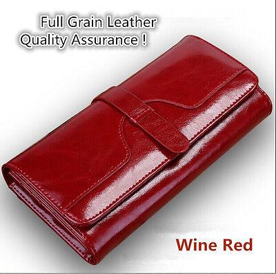 Women Genuine Leather clutch Handbag Organizer  Wallet Card Coin Purse Checkbook