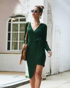 Knitwear-Sweater-Long-Sleeve-Knitted-Party-Short-Women-New-Dress-V-Neck-Winter