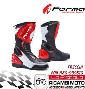 Dettagli su FORMA FRECCIA STIVALE RACING MOTO NERO BIANCO ROSSO MISURA 46