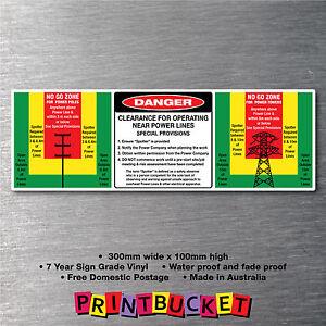 Beware overhead wires underground stickers oh/&s water//fade proof 7yr vinyl