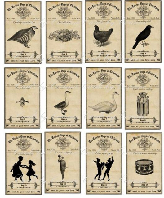 Vintage inspired Christmas 12 bottle apothecary labels stickers scrapbooking