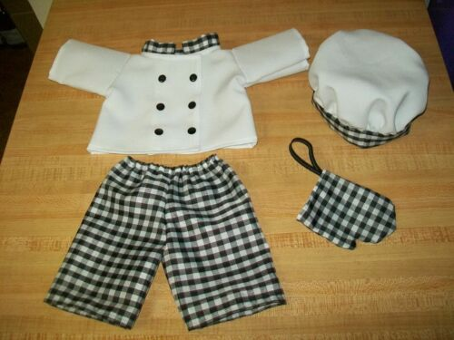 CHEF COOK OUTFIT JACKET PANTS TOQUE OVEN MITT for 16-18 CPK Cabbage Patch Kids